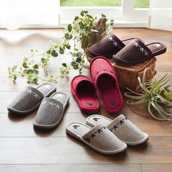 迪士尼Disney《預購》米奇 簡約 刺繡室內拖鞋~日本正品~四色4入一組~心心小舖
