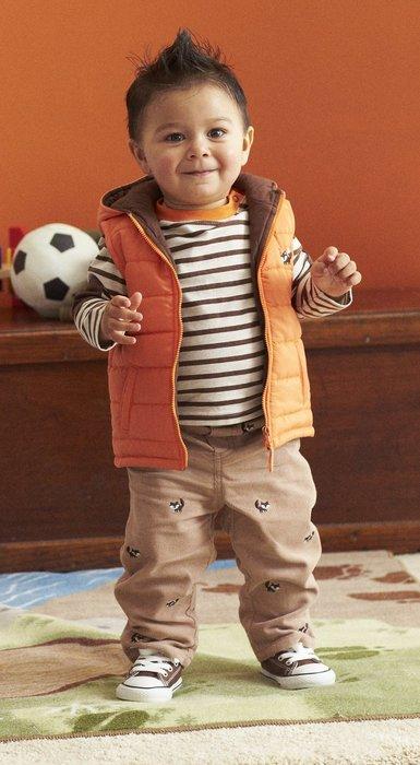 【N's歐美童裝】Little Me 男寶寶 亮眼橘狐狸 條紋長袖上衣+連帽防風保暖背心+長褲3件組*Carter's