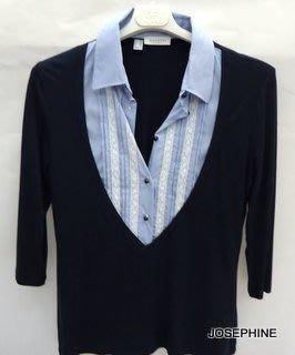 喬瑟芬【ZANETTI】特價$7150含運~深藍色 人造絲+棉 長袖襯衫