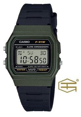【天龜 】CASIO  經典復古  簡約電子錶  F-91WM-3A 台中市