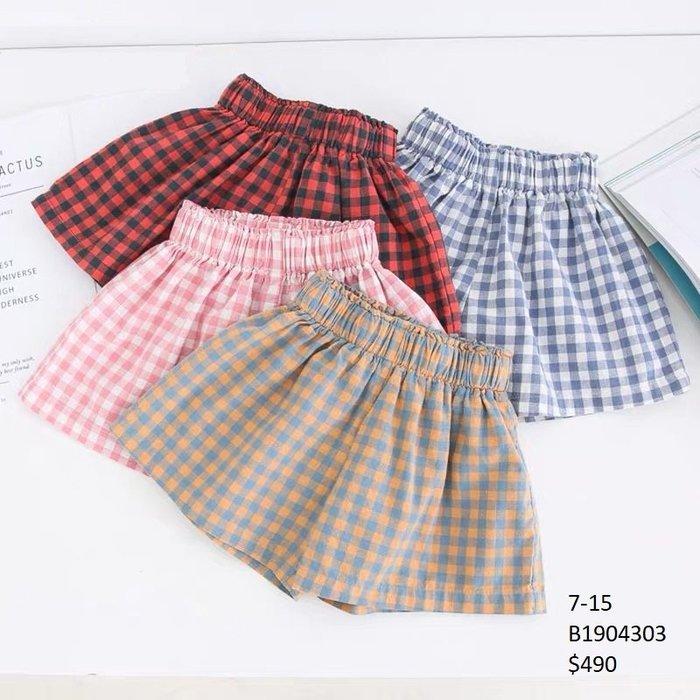 【Girl】 JC BABY 舒適格紋短褲(共四色) #B1904303