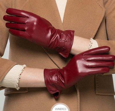 真羊皮手套 冬皮手套短款秋冬加絨保暖女士山羊皮手套