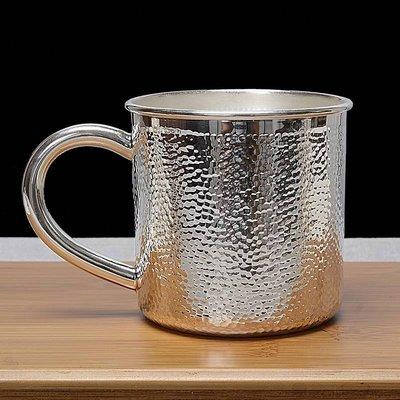 【鏡面敲紋手作臻品 馬克杯 】999足銀純銀燒水壺煮茶壺 養生茶具 茶杯 咖啡杯 公道杯 酒杯 酒壺 帶蓋水杯 皇家典藏