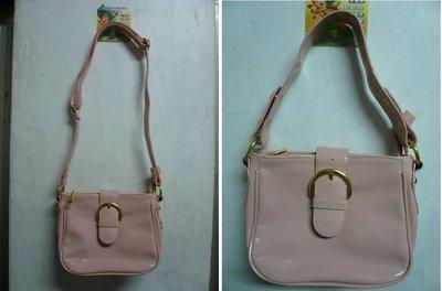 有瑕疵  粉紅色漆皮亮皮金釦磁釦淑女手提包 斜背包 小方包包 附長背帶