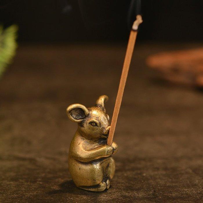 生肖亥豬純銅香插 線香香爐家居工藝品茶寵擺件茶托架