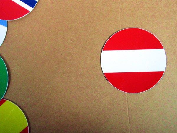 【國旗貼紙專賣店】奧地利國旗圓形行李箱貼紙/抗UV防水/多國款可收集和客製
