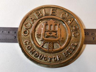 英國電車CABLE CAR CONDUCTOR BELL銅牌/火車牌...偉哥懷舊古董早期老物品古董收藏...層1