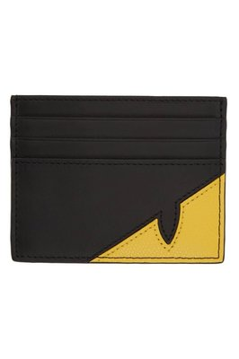 [FDOF] 預購 Fendi Corner Bugs cardholder 黑色 & 黄色 小怪獸 小 牛皮七卡卡包