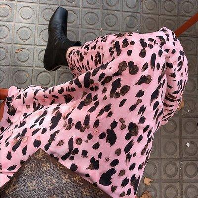 日韓專櫃代購~韓國代購春季小女人氣質 顯瘦時尚粉色豹紋高腰魚尾半身裙