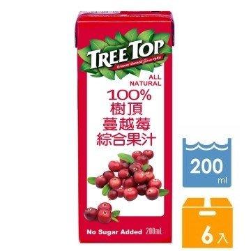 Tree top樹頂100%蔓越莓綜合果汁200ml*6