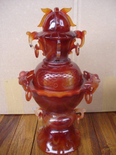 小o結緣館仿古傢俱...............頂級紅瑪瑙招財炉(小款)18x14x31