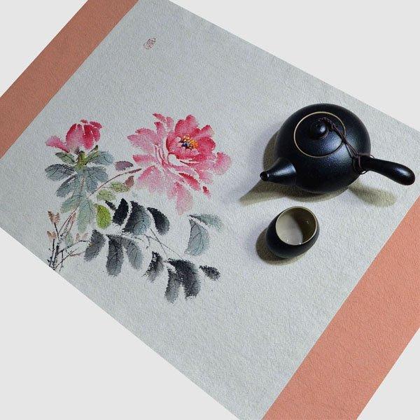 5Cgo【茗道】含稅會員有優惠 545210085049 可定制手繪茶席中式花鳥茶壺茶杯泡茶墊茶海乾泡茶簾苎麻禅意小號桌