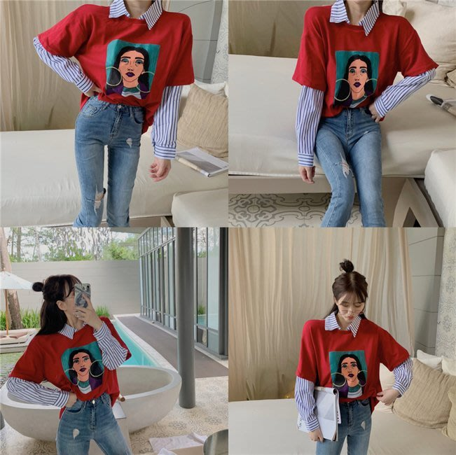 FINDSENSE G6 正韓女裝上衣 女襯衫領假兩件套打底衫2019春秋新品寬鬆百搭長袖薄款長袖T恤