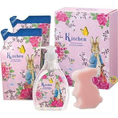【JPGO】日本製 saraya 彼得兔 洗碗精精美禮盒組~洗碗精x1+補充包x2+海綿x1 #249