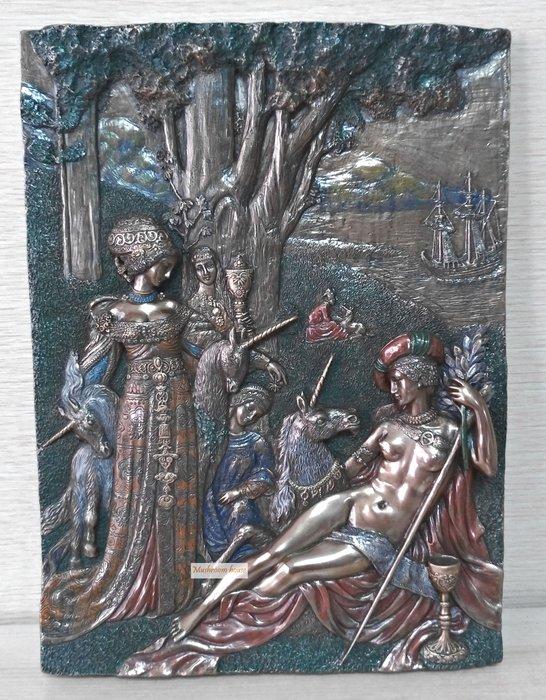 點點蘑菇屋 歐洲進口希臘神話系列女人與獨角馬仿銅岩磚壁飾 獨角獸 壁掛 掛飾 精緻飾品 藝術品 現貨 免運費