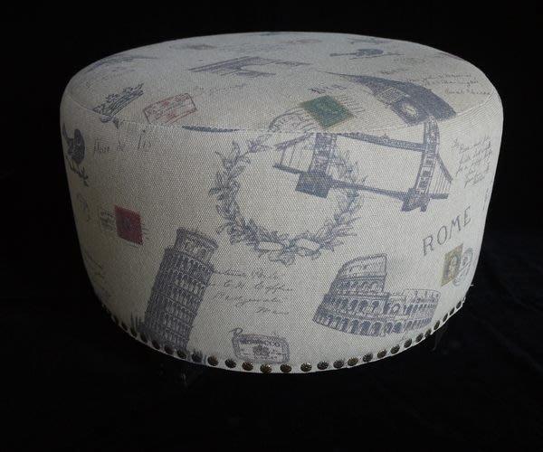 【布拉格歐風傢俱】法式風情簡約淺色系圓形椅 床邊椅 腳椅 板凳 穿鞋椅 民宿擺飾居家