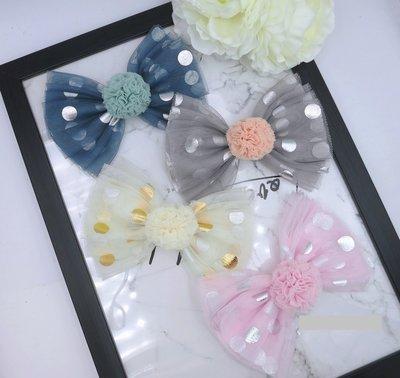 檸檬手作髮飾  韓國圓點紗球蝴蝶髮夾/髮束/髮箍 (4色)