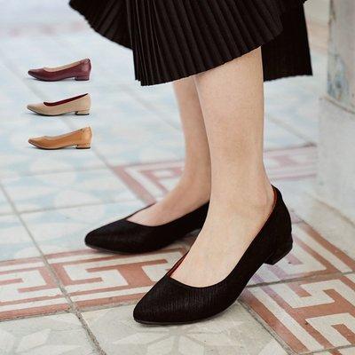 酒吧貓低跟尖頭鞋。波波娜拉Bubble Nara。妳的美用一雙素鞋來表現 UB06-1