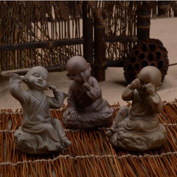 5Cgo【茗道】含稅會員有優惠 36737710130 宜興精品紫砂哥汝窯茶寵茶玩擺件功夫茶具茶盤配件小和尚坐蓮如來茶趣