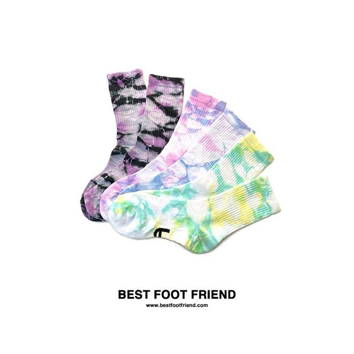 GIANT X BFF BEST FOOT FRIEND - 紮染襪 中筒襪 紫黑/紫白/黃綠 2雙免運