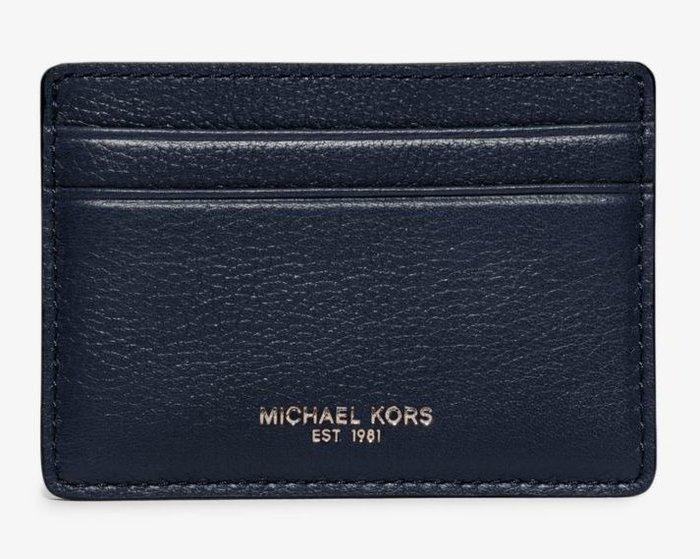 全新美國精品名牌 Michael Kors Men MK深藍色低調經典款名片夾,附原廠禮盒,低價起標無底價!本商品免運!