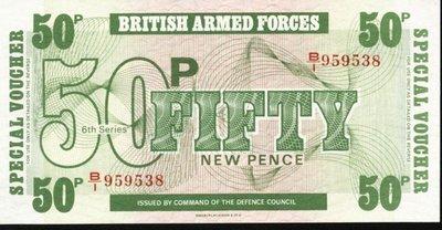 ~\(^o^)/~--精美外鈔--- 50 POUND---較少---英國軍用票---1972年---雙僅一張