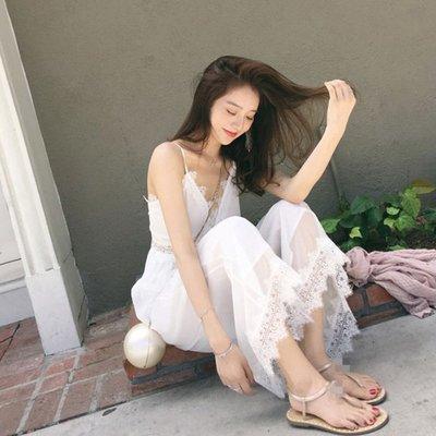 韓國風名媛氣質顯瘦吊帶寬口褲連身褲套裝無袖褲裝 下單送襪子或聖誕帽唷