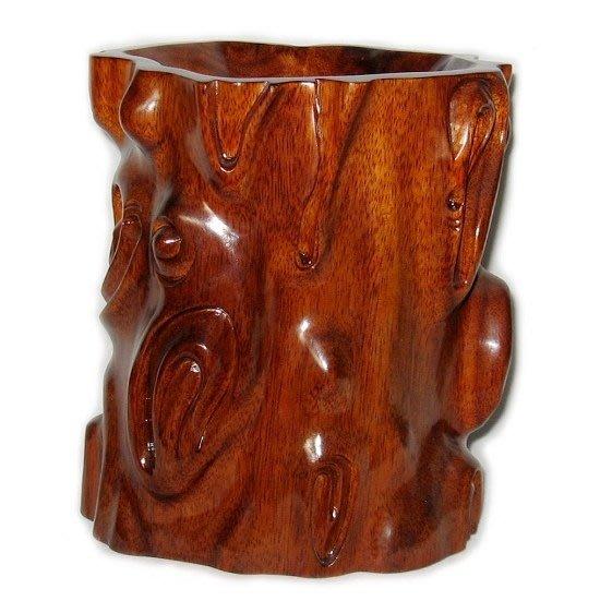 T雅軒齋】紅木工藝品 木雕刻擺件 商務禮品 隨型筆筒 辦公用品