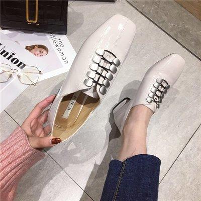柒柒KR 正韓單鞋小皮鞋女2019新款時尚正韓方頭低跟一腳蹬百搭英倫風單鞋