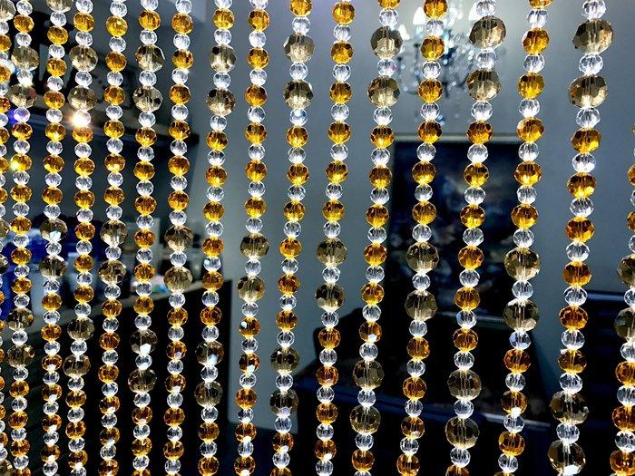 門簾 A005 手工水晶珠簾  閃亮切面水晶珠簾 台製工廠直營 風水適用 水晶珠簾 可訂製尺寸