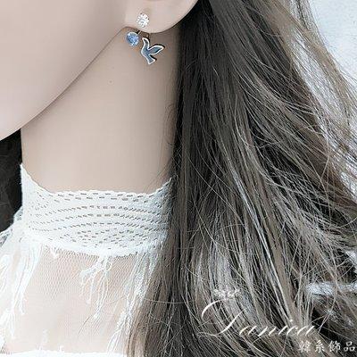 耳環 現貨 韓國時尚氣質甜美和平鴿子水鑽後掛耳環 K92499 批發價 Danica 韓系飾品 韓國連線