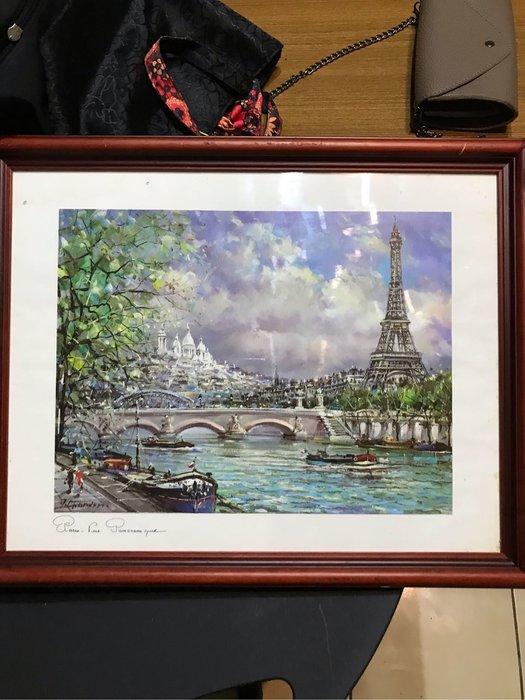 巴黎鐵塔複製油畫 印刷版 二手珍品Rue Pamorami ooze 畫size 36x27.5cm