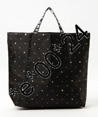 beams boy 黑色 哈哈笑 smiley face pattern tote bag 袋