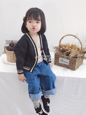 【M.S.FeeL】女童毛衣 女童毛衣開衫新款寶寶秋裝兒童針織衫外套秋加厚線衣-免運費