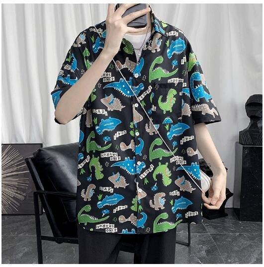FINDSENSE X 小恐龍短袖襯衫夏季男塗鴉花上衣情侶襯衣潮襯衫