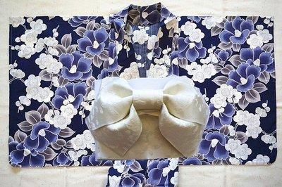 日本和服浴衣 山茶梅花藍黑底 7件套