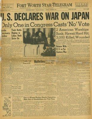 (徐宗懋圖文館) 二戰1941年12月8日 美國報紙《Frot Worth Star-telegram》原件