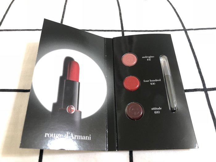 GIORGIO ARMANI 奢華訂製柔霧唇膏 三色試用卡 102 / 400 / 600