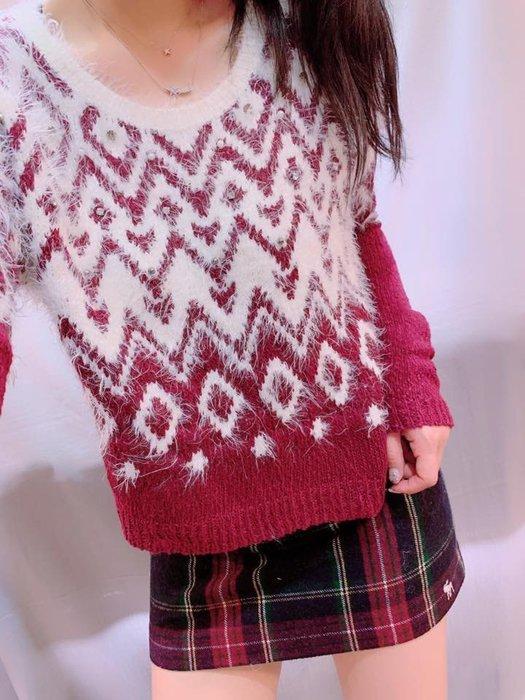 A&F 女生 紅色系 雪花針織衫  Abercrombie & Fitch 我愛麋鹿 AF 正品專賣店