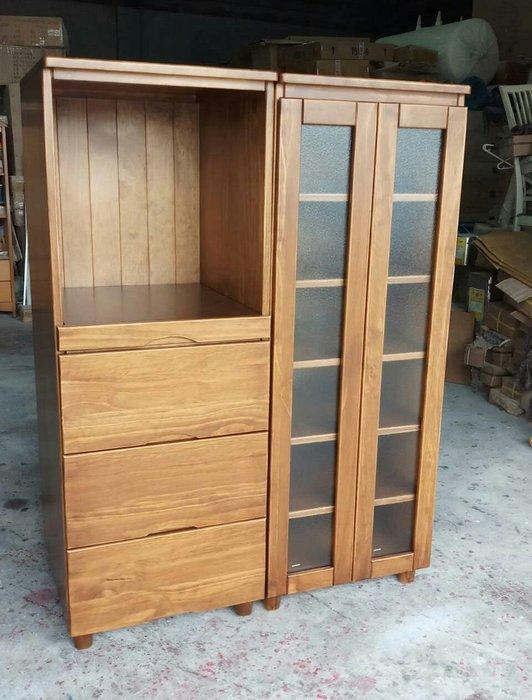 美生活館 鄉村傢俱訂製 紐西蘭松木原木 古銅色 客訂 雙門玻璃櫃 電器收納櫃 置物櫃 展示櫃  隔間櫃 也可修改尺寸顏色