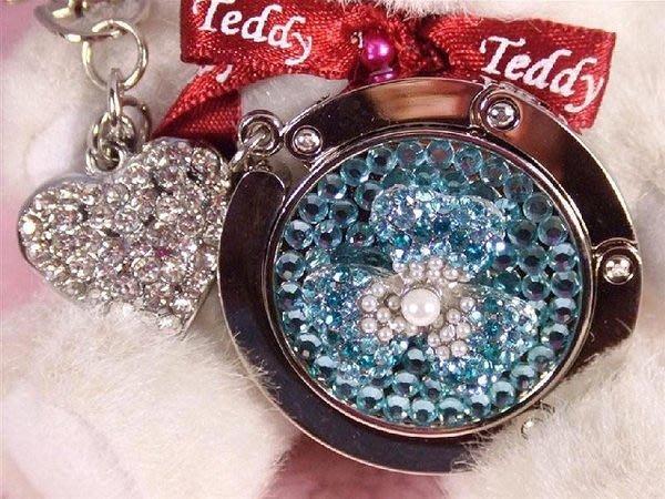 ☆Beau品牌館☆潮流新品--當戀愛來臨 珍珠碎葉花(藍色) 立體時尚包包掛鉤