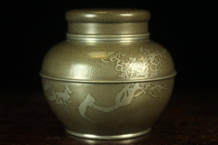悅年堂 --- 日本 錫製 花卉紋 茶葉罐  老件