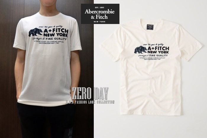 【零時差美國時尚網】A&F真品Abercrombie&Fitch Logo Graphic Tee美式貼布短袖T-米白色