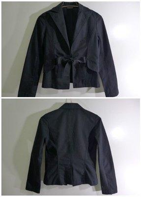 NICE CLAUP黑色純棉蝴蝶結西裝外套