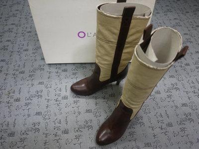 義大利製 L'AUTRE CHOSE 高級真皮帆布筒中跟長靴 USA 6 EUR 36 JPN 23 CM