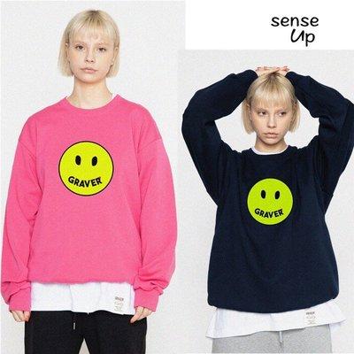 尹茵小姐·SENSEUP20春韓國正品GRAVER設計師品牌夜光笑臉圖案套頭衛衣