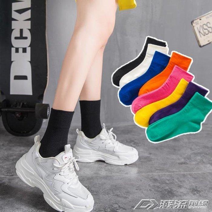 襪子ins襪子女黑色中筒襪紫色潮韓版學院風糖果彩色長襪女堆堆襪