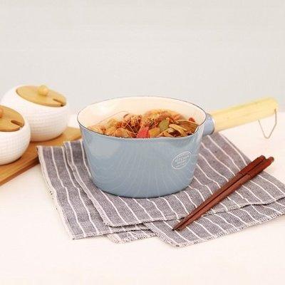 鄉村雜貨小市集*zakka 日雜款灰藍色雙嘴木柄琺瑯鍋單手鍋牛奶鍋