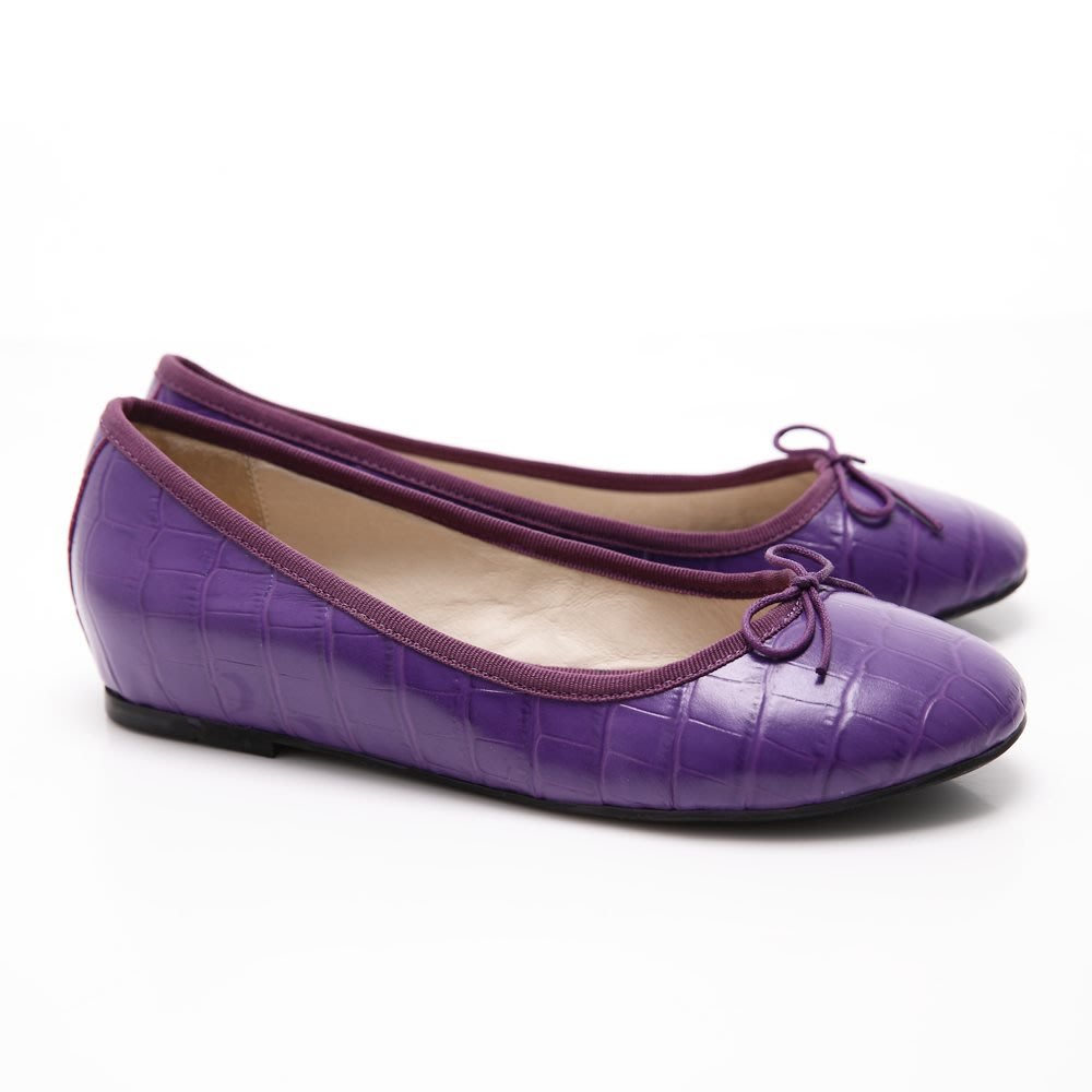 【☆Moon之概念城堡☆】LAND鱷紋蝴蝶結芭蕾舞鞋-紫