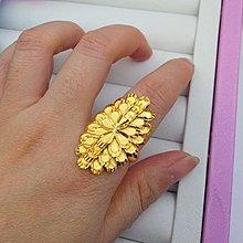 戒指 尾戒 婚戒 指環 求婚戒新款鍍金夸張女士食指指環活口可調節仿金3d硬金飾品大氣沙金戒指